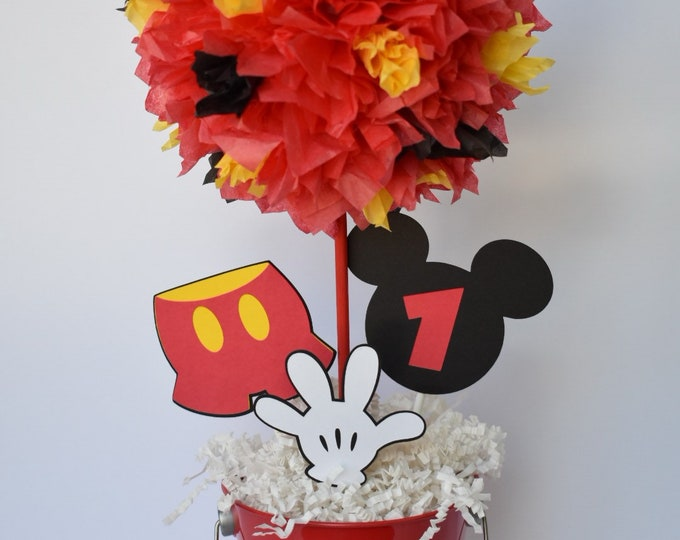 Featured listing image: Mickey Mouse birthday party decoration, centerpiece, centerpieces