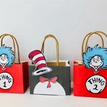 Thing one and thing two and cat in the hat Favor Bags, Set lf 12, personalized, dr seuss, thing one and two, cat in the hat,