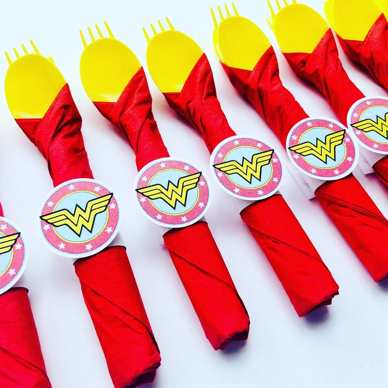 Wonder Woman Birthday Party Cutlery wrapped utensils party image 0