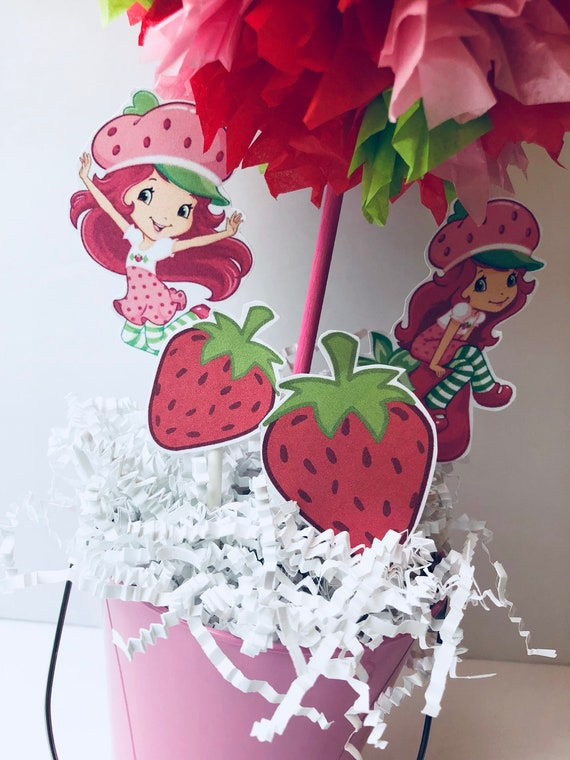 Strawberry Shortcake Centerpiece Birthday Party Decoration Centerpiece Decorations Centerpieces Strawberry Shortcake Decor