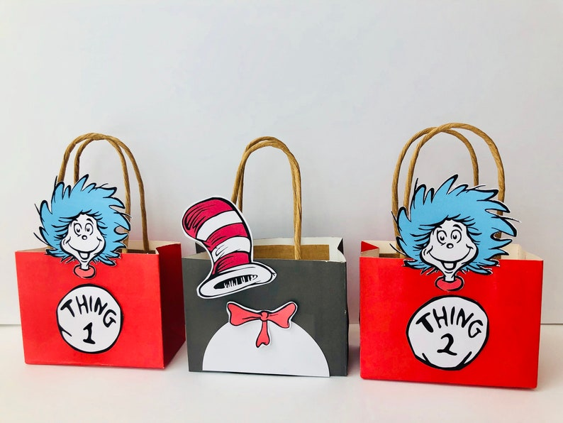 Thing one and thing two and cat in the hat Favor Bags Set lf image 0