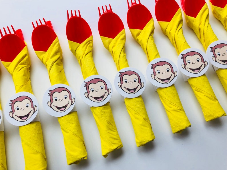 Curious George Birthday Party Cutlery wrapped utensils party image 0