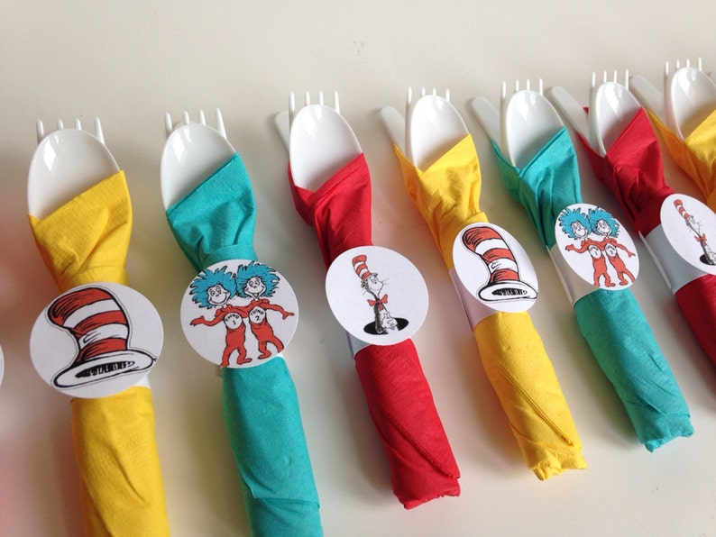 Dr Seuss Birthday Party Cutlery wrapped utensils party image 0