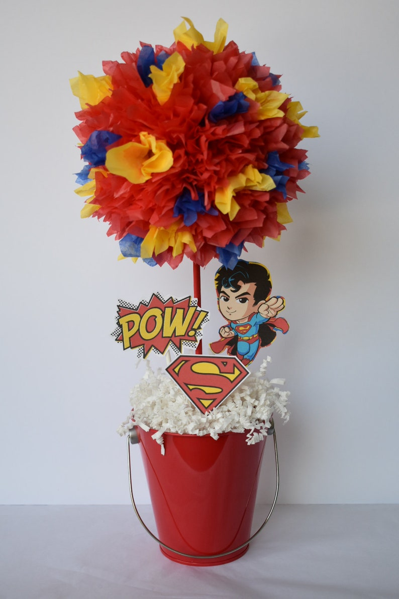 Superman Super Hero birthday party decoration centerpiece image 0