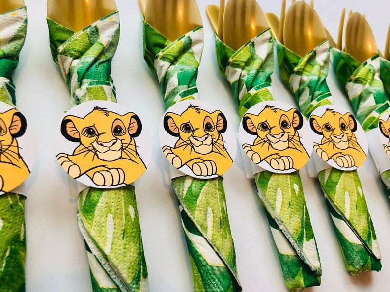 Lion King Birthday Party Cutlery wrapped utensils party image 0