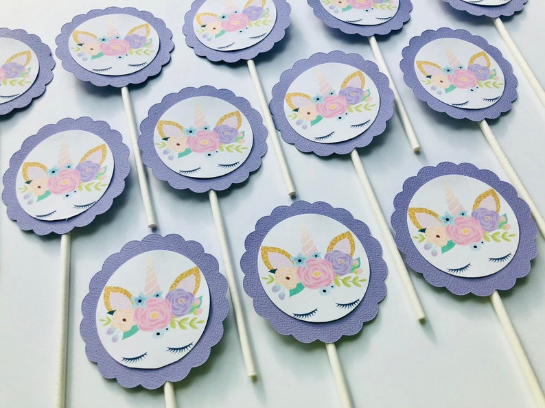Unicorn birthday cupcake toppers unicorn party decoration image 0
