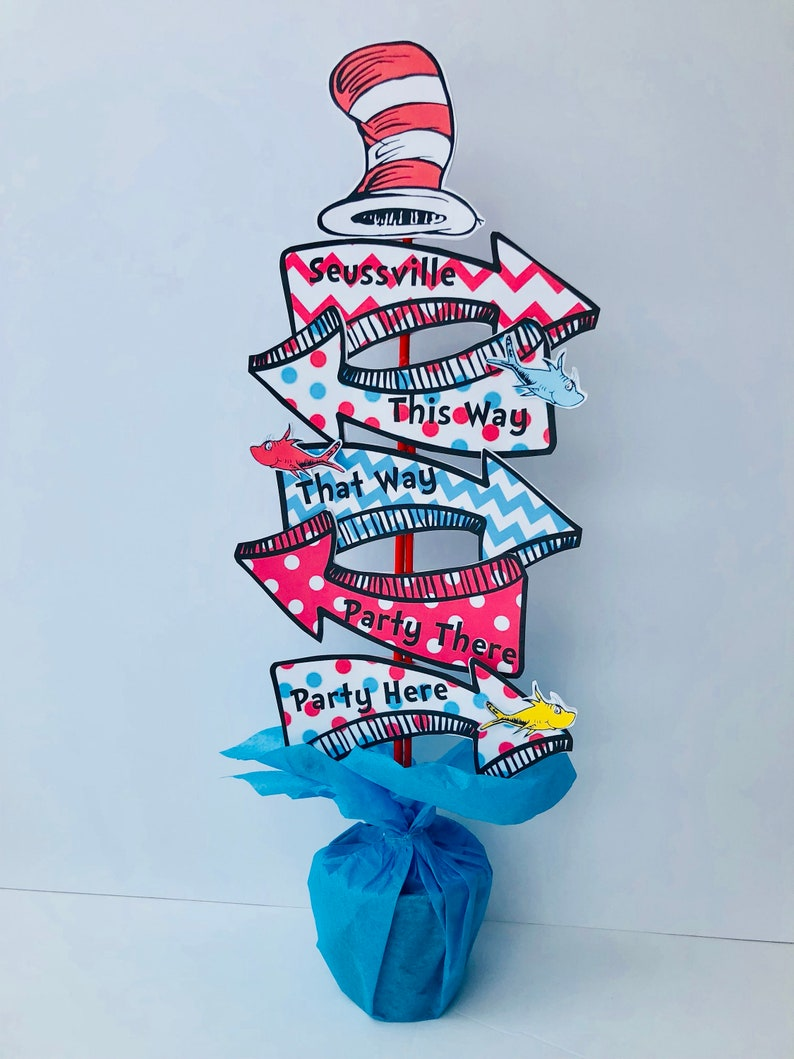 Seuss birthday party centerpiece decoration arrow signs dr image 0