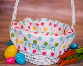 Personalized Easter Basket Liner, Easter Basket Liner, Polka Dot Girl Easter Basket Liner, Personalized Basket Liner For Girl