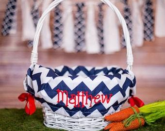 Personalized Easter Basket Liner, Easter Basket Liner, Navy Chevron Easter Basket Liner, Personalized Basket Liner For Boy or Girl