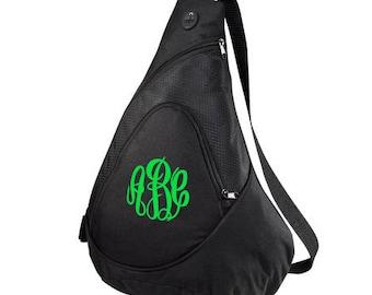 Monogrammed Sling Bag-Monogrammed Sling Backpack-Personalized Sling Bag-Monogram Sling Bag-Monogram Cross Body Bag-Monogram Sports Sling Bag