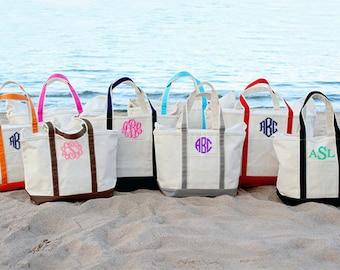 Monogram Tote Bag - Personalized Tote Bag - Large Canvas Monogrammed Tote Bag - Canvas Boat Tote Beach Bag - Monogram Bridesmaid Tote Bag -