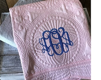 Monogram Baby Quilt | Personalized Baby Quilt | Personalized Baby Blanket | Monogram Keepsake Quilt | Personalized Baby Gift | Baptism Gift