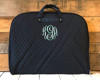 9734616d71d2 Personalized Quilted Navy Garment Bag