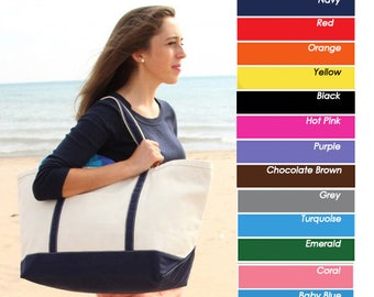 Canvas Tote Bag - Large Monogrammed Tote Canvas Bag - Canvas Boat Tote Beach Bag - Bridesmaid Monogrammed Tote Bag -Bridal Party Tote Bag