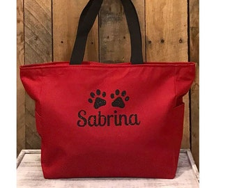 Personalized Dog Tote | Dog Travel Tote | Doggy Day Care Tote Bag | Puppy Gift |  Dog Paw Tote Bag | Dog Essential Tote Bag | Puppy Tote Bag