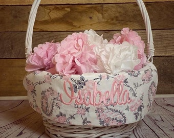 Personalized Easter Basket Liner, Embroidered Easter Basket Liner, Pink Grey Paisley Easter Basket Liner, Girls Personalized Basket Liner