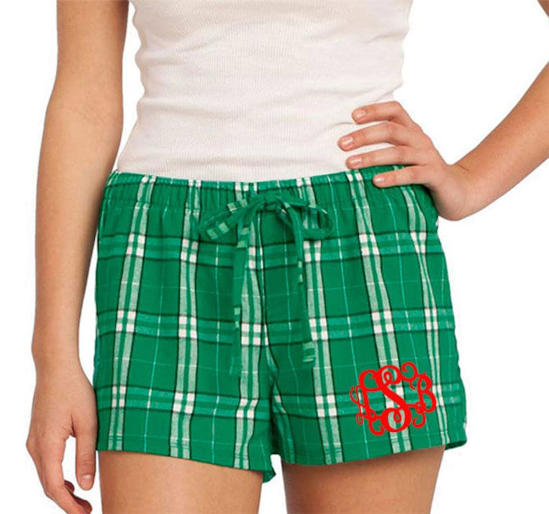 e4eb5e6d629 Monogrammed Plaid Flannel Boxer Pajama Short Green Plaid