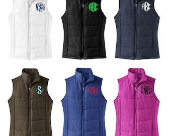 Monogrammed Puffy Vest - Mother's Day Gift - Quilted Monogrammed Vest - Women's Preppy Monogram Puffy Vest - Monomgram Women's Vest
