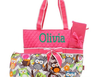 Monogrammed Diaper Bags Personalized Diaper Bags Owl Diaper Bag Monogrammed Diaper Bag 3 Piece Quilted Diaper Bags Diaper Bag Set
