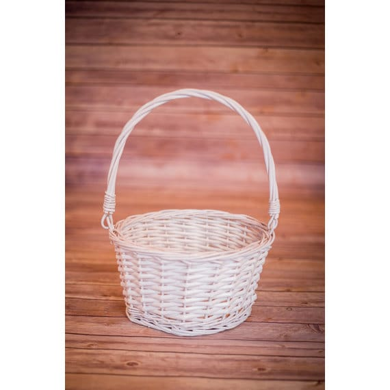 White Wicker Easter Basket With Folding Handles Collipsible Etsy