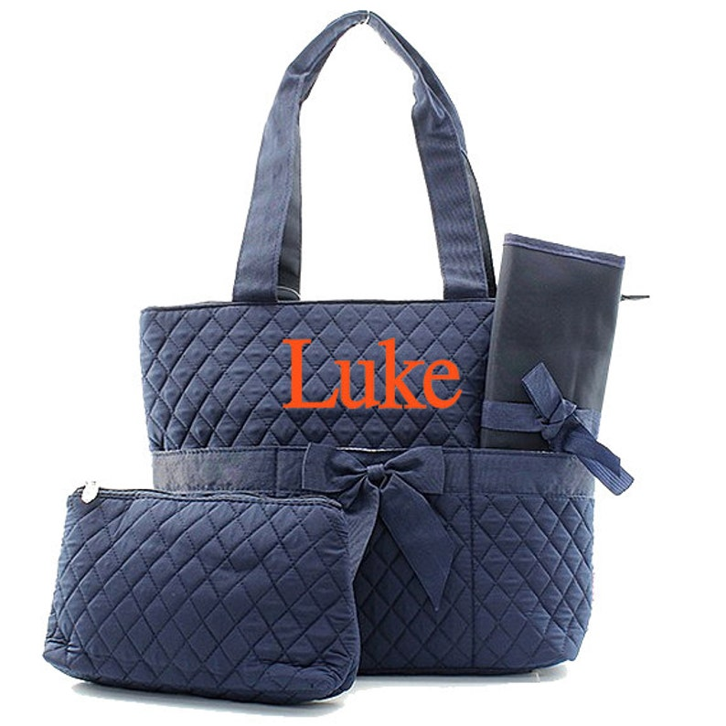 Monogrammed Diaper Bags Personalized Diaper Bags Solid Navy image 0