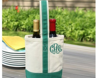 Monogram Canvas Wine Tote - Personalized Wine Carrier - Personalized Hostess Gift - Two Bottle Canvas Wine Tote
