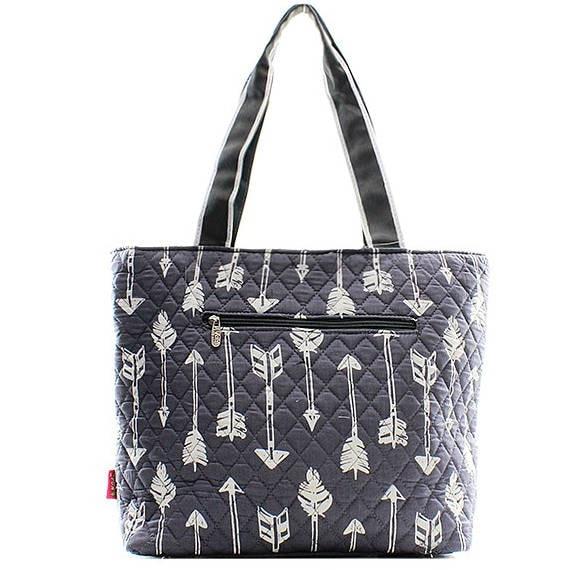 Monogrammed Diaper Bag Personalized Diaper Bag Grey Arrow Print Monogrammed Diaper Bag 3 Piece Quilted Diaper Bags Diaper Bag Set