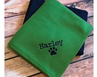 Personalized Dog Blanket, Pet Blanket, Dog Crate Blanket, Large Pet Blanket, Personalized Dog Fleece Blanket, Paw Print Pet Blanket w/ Name