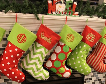 Christmas Stockings, Personalized Family Christmas Stockings, 19 Different Christmas Stocking Patterns, Embroidered Family Holiday Stockings