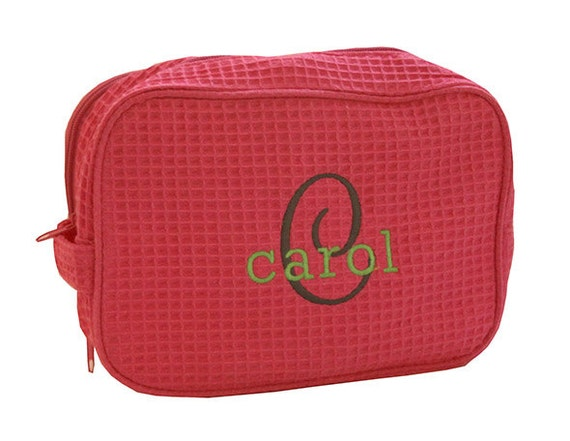 monogrammed cosmetic bag large personalized waffle weave make up makeup 7d17416761254