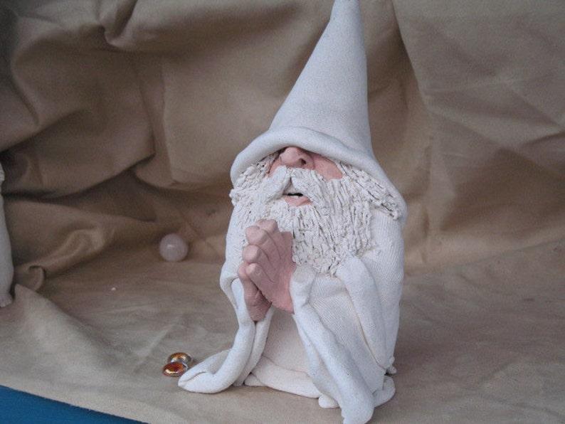 Praying White Wizard Clay sculpture. image 1