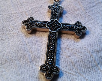 Gothic Cross Necklace, Vintage Antiqued Silver Tone Religious Jewelry