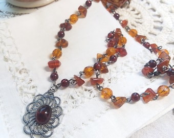 Red JasperPyrite Pendant 2 Strand Necklace Picasso Seed Beads Black Red Amber Gray Gold Silver Hematite