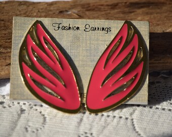 Pointed Vintage Cut Out Pink Enamel Post Earrings, Mod Elongated Posts