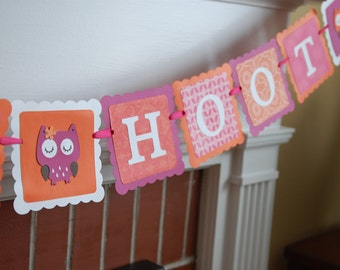 Hoot Hoot Banner, Owl Birthday, Owl Baby Shower, Whoo's 2, Owl Party Supplies, Orange Hot Pink