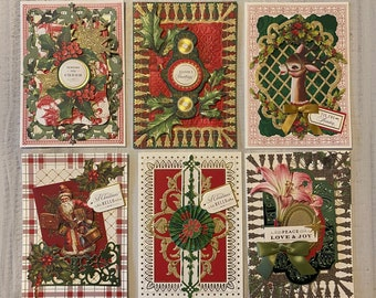 Christmas Cards Set, 6 cards, 5x7, Ready to Ship, Stationery, Greeting Card, Christmas Note Cards, Happy Holiday Cards, Glitter Green Gold