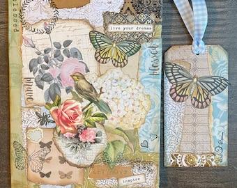 Let LOVE INSPIRE collage composition notebook, junk journal, 2021 journal, handmade collage journal, art journal, butterfly, rose