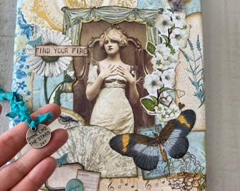 Find YOUR FIRE collage composition notebook, whimsical, teal, butterfly, floral, flora, junk journal, handmade collage, art journal
