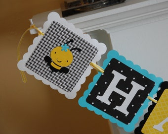 Happy 1st BEEday Banner, Happy 1st Birthday, Bee Birthday, Bee Theme, Bumble Bee Party, Yellow, Aqua, Black White