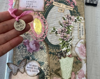 Conquer FROM WITHIN collage composition notebook, junk journal, door, new beginnings, transitional, summer, floral notebook, mint