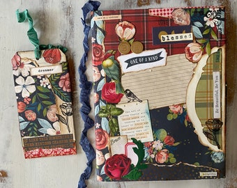 BE ONE of a KIND collage composition notebook and bookmark, junk journal, handmade collage journal, inspirational, mixed media notebook