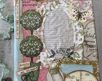 COURAGE, dear HEART collage composition notebook, junk journal, door, new beginnings, transitional, nature, butterfly, topiary, botanical