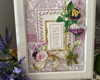 GARDENING picture, art, floral decor, Gift for her, sign, floral, botanical, inspirational, Lavender Field, purple flowers, Free Shipping