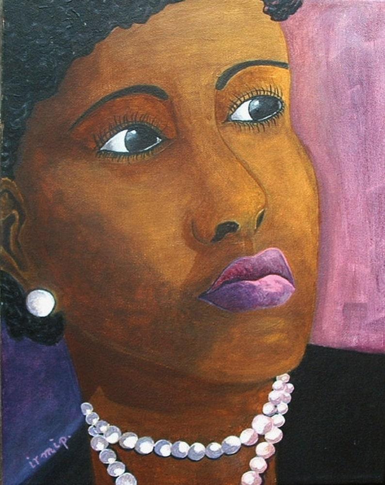 Portrait Black Lady Painting Portrait Painting Pearl Necklace image 0