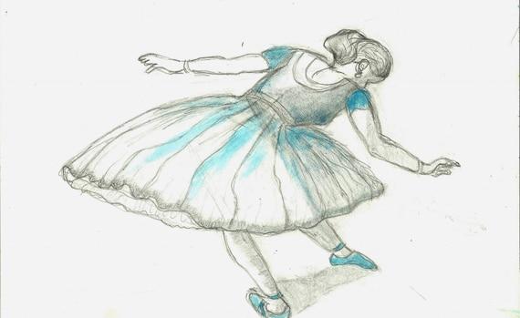 Disegni Di Ballerine Da Disegnare : Disegno originale di mixed media art studio ballerina dopo etsy