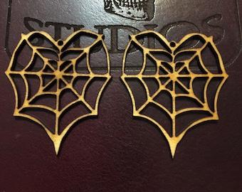 12-24-48 pcs Heart Spider Web Earring Findings -Ornament - Pendant -Laser cut