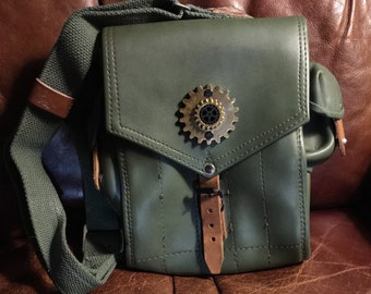Steampunk Adventure  bag Green Vinyl Mag Pouch with Strap