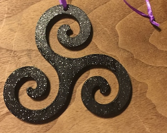 Triskelion Black and glitter wood Ornament - 3 3/8 inch tall