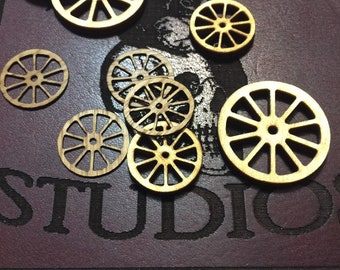 TERRAIN -  30mm - 20mm  12 pcs wagon wheels - gaming miniature-laser Birch Plywood-veneer