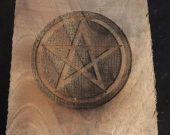 Walnut Altar plate pentagram pentacle
